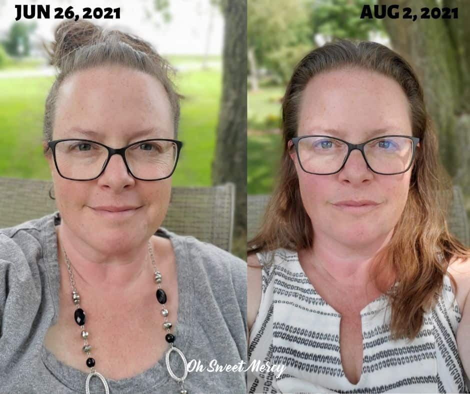Discovering my food sensitivities was the key to getting THM working again for me. This before and after picture compares my face on June 26, 2021 and Aug 2, 2021, just over a month. My face is way less puffy!
