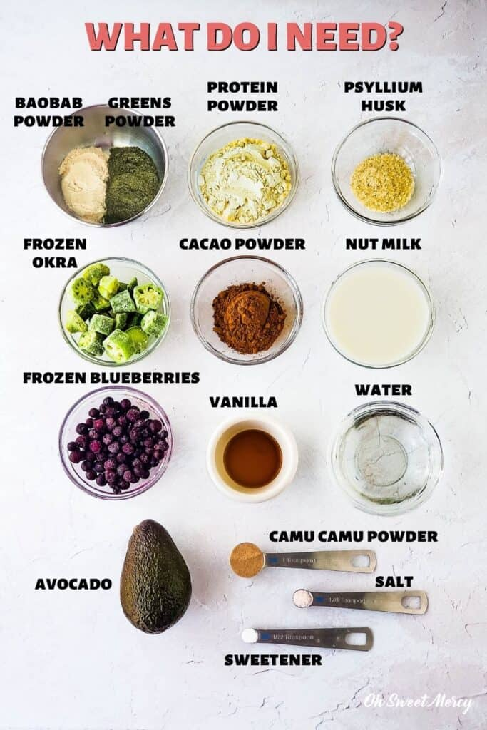 Ingredients for Chocolate Blueberry Smoothie: Okra, blueberries, avocado, cacao powder (or cocoa powder), baobab powder, Dynamic Duo Greens Powder, psyllium husk, nut milk, water, vanilla, camu camu powder, sweetener, salt. Some ingredients are optional, read post for all the details.